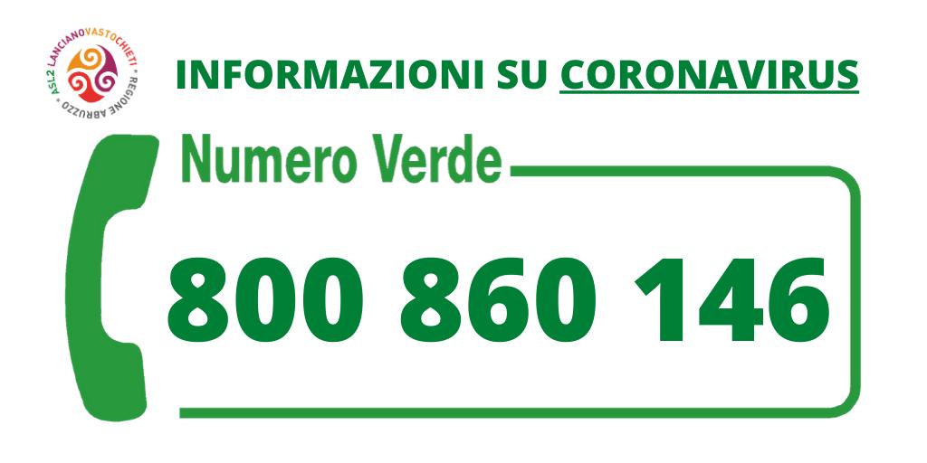 Banner numero verde COVID19 Asl2Abruzzo