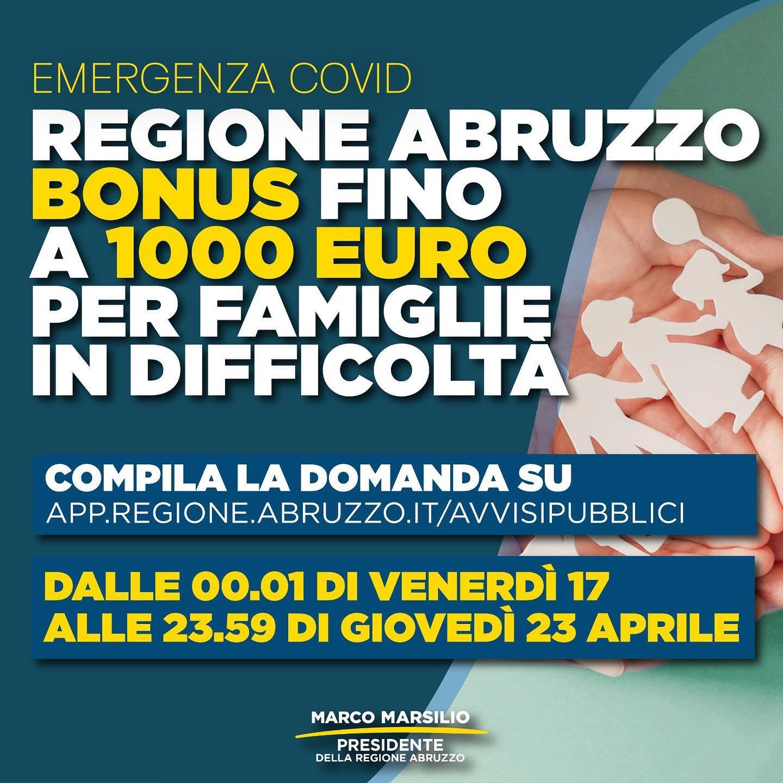 Locandina Bonus famiglie COVID19 Abruzzo
