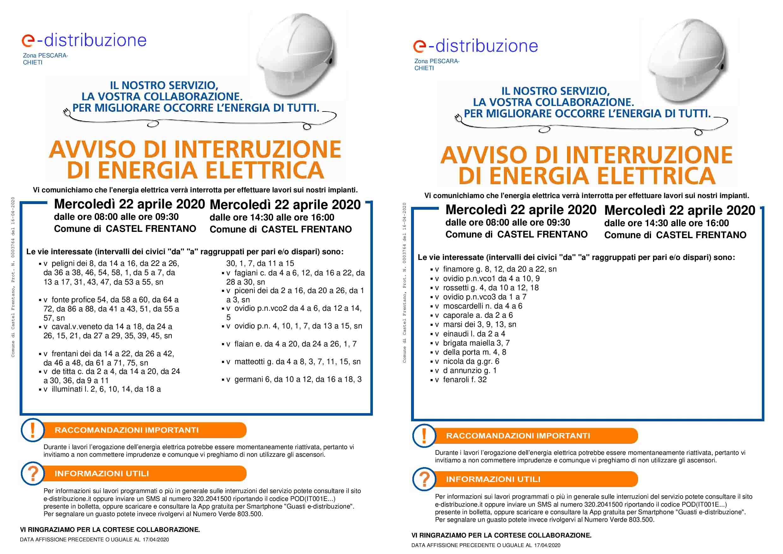 Manifesto interruzione Enel 22 aprile