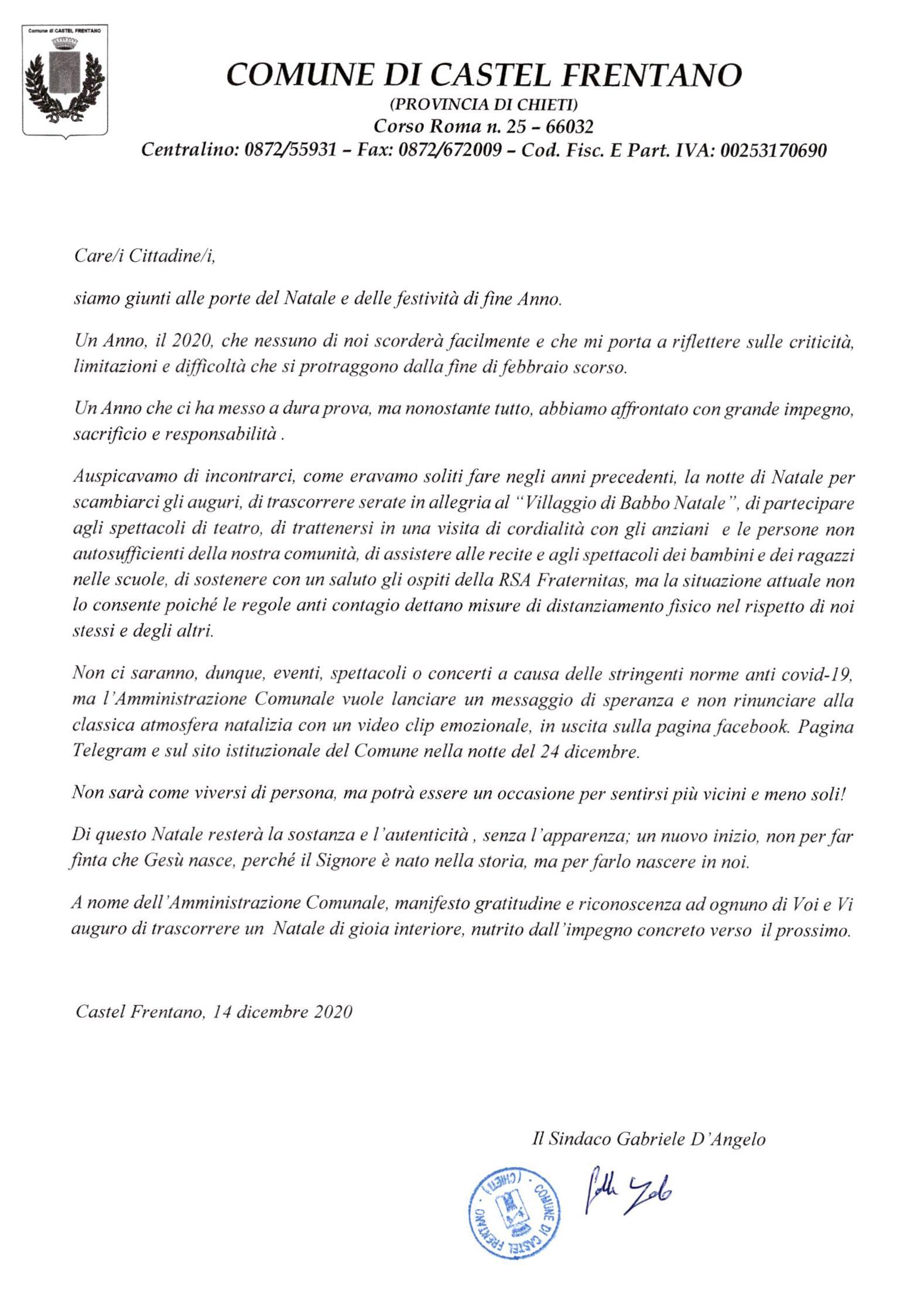 Lettera di Natale 2020