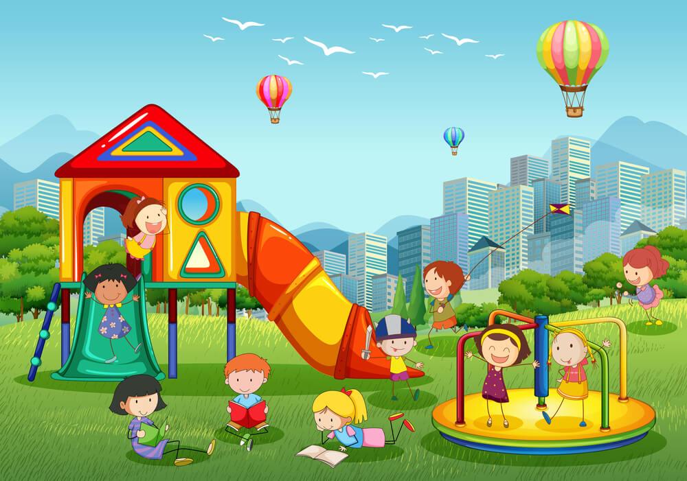 Bambini giocano al parco estate