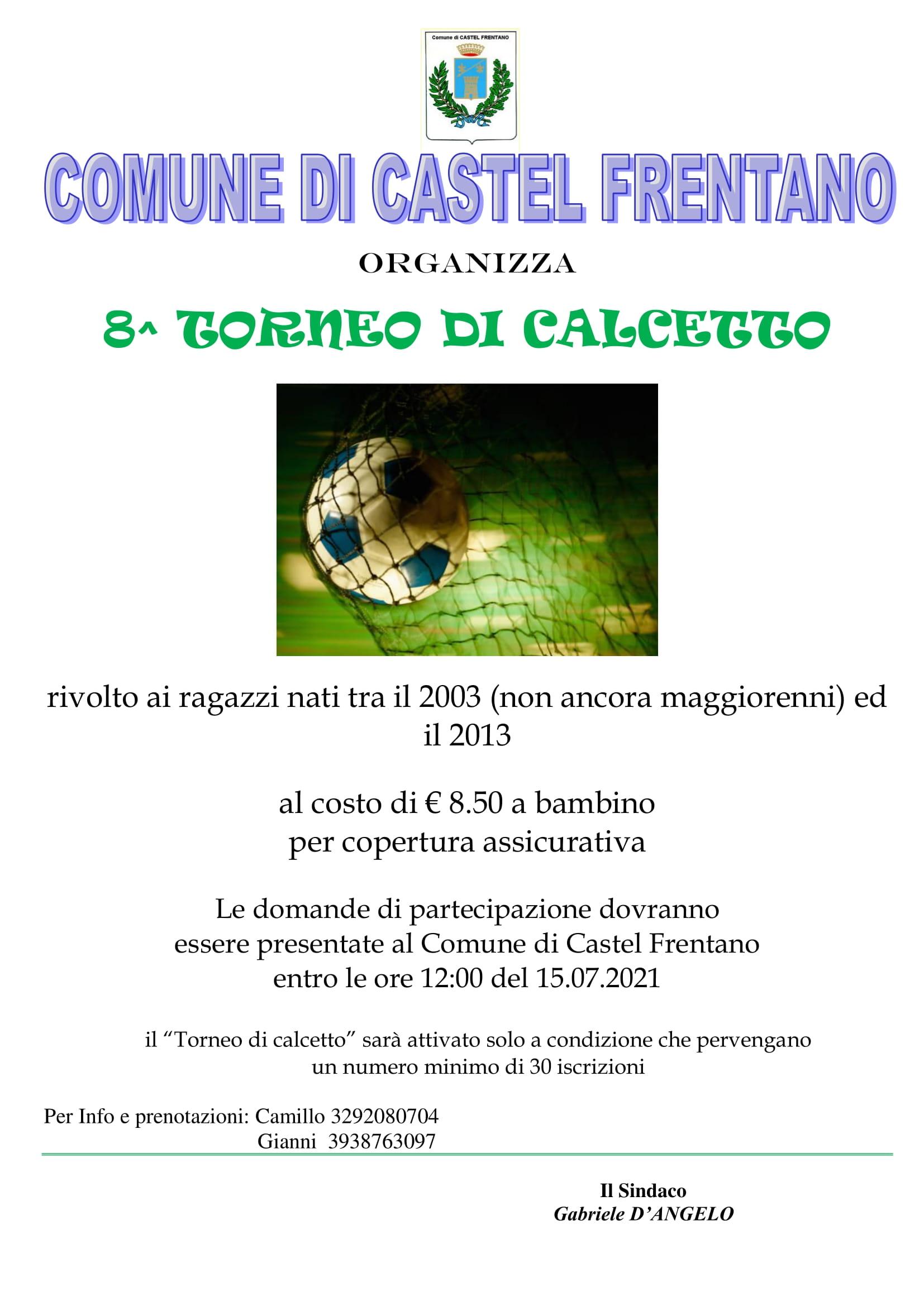 Locandina torneo di Calcetto 2021 Ragazzi