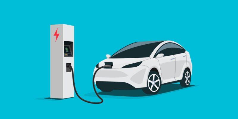 Immagine che raffigura una colonnina di ricarica che ricarica un auto elettrica